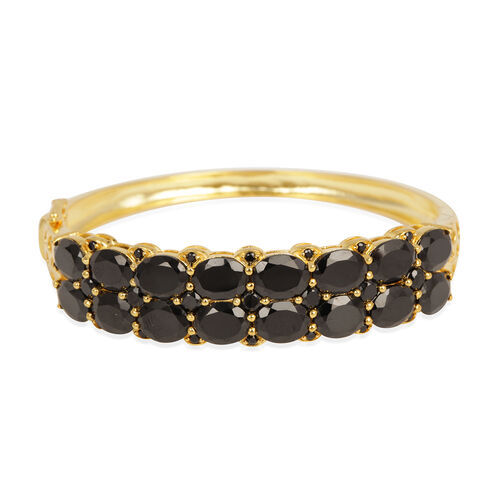 Boi Ploi Black Spinel (Ovl) Bangle (Size 7.5) in 14K Gold Overlay Sterling Silver 38.860 Ct.