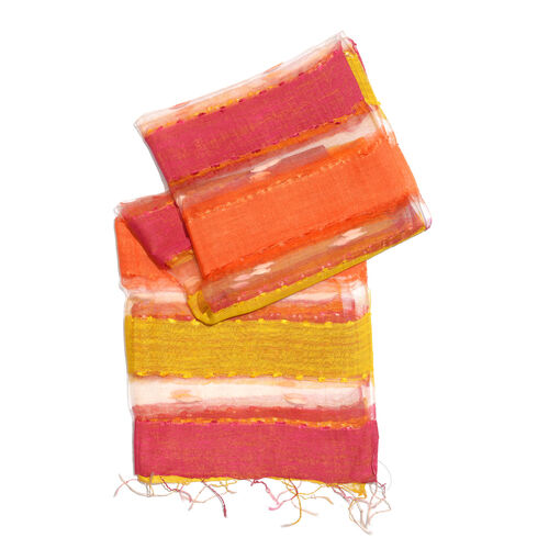 New Season-30% Silk Orange, Red and Yellow Colour Scarf with Tassels (Size 180X60 Cm)