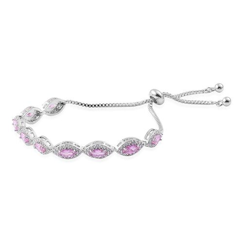 AAA Simulated Pink Sapphire and Simulated White Diamond Adjustable Bracelet (Size 6.5-9) in Silver Tone