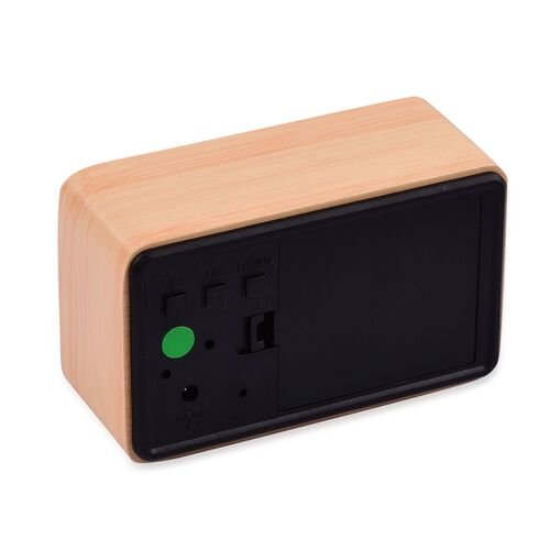 Wooden Style Brick LED Clock( With Sound Activation, 3 Alarm Setting, Room Temperature, Date Display Feature)- Brown-Green