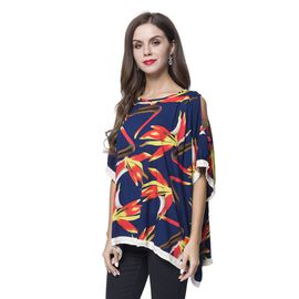 Navy, Red and Multi Colour Floral Pattern Poncho (Size 135X100 Cm)