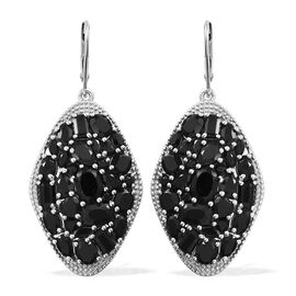 Cocktail Collection - Boi Ploi Black Spinel (Ovl) Lever Back Earrings in Platinum Overlay Sterling Silver 18.250 Ct. Silver wt. 11.52 Gms.