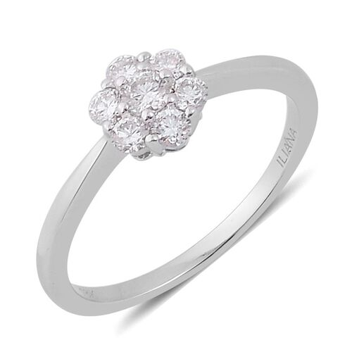 ILIANA 18K White Gold IGI Certified Diamond (Rnd) (SI/G-H) 7 Stone Ring 0.500 Ct.