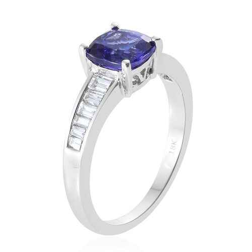 ILIANA 18K White Gold AAA Tanzanite (Cush 1.75 Ct), Diamond (SI G-H) Ring 2.175 Ct.