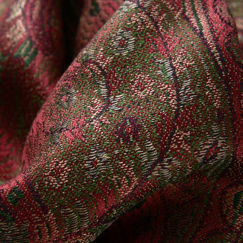 SILK MARK - 100% Superfine Silk Multi Colour Paisley and Leaves Pattern Red Colour Jacquard Jamawar Scarf Tassels (Size 180x70 Cm) (Weight 125-140 Grams)