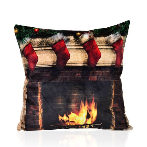 Black, Red and Multi Colour Christmas Socks Theme LED Cushion (Size 40X40 Cm)