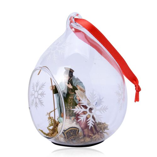 Home Decor - Set of 2 - Snowflake Glass Ornament with Nativity Inside (Size 11X7 Cm)