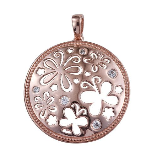 J Francis - Rose Gold Overlay Sterling Silver (Rnd) Pendant Made with SWAROVSKI ZIRCONIA