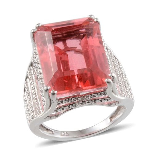 Padparadscha Colour Quartz (Oct 13.75 Ct), Diamond Ring in Platinum Overlay Sterling Silver 13.780 Ct.