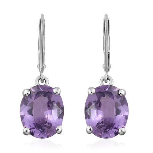 ILIANA 18K White Gold UnHeated Natural Purple Sapphire (Ovl) Lever Back Earrings 1.330 Ct.