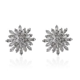 0.33 Ct Diamond Starburst Earrings in Platinum Plated Silver (with Push Back)