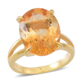 Rare AAA Uruguay Citrine (Ovl) Solitaire Ring in 14K Gold Overlay Sterling Silver 8.500 Ct.