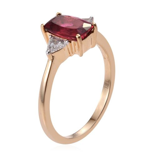 ILIANA 18K Y Gold Rubelite (Cush 1.85 Ct), Diamond Ring 2.000 Ct.