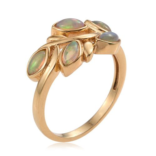 Ethiopian Welo Opal (Mrq) 5 Stone Leaves Ring in 14K Gold Overlay Sterling Silver 0.750 Ct.