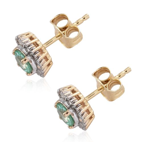 9K Yellow Gold 0.90 Ct AA Boyaca Colombian Emerald Halo Stud Earrings with Diamond (with Push Back)