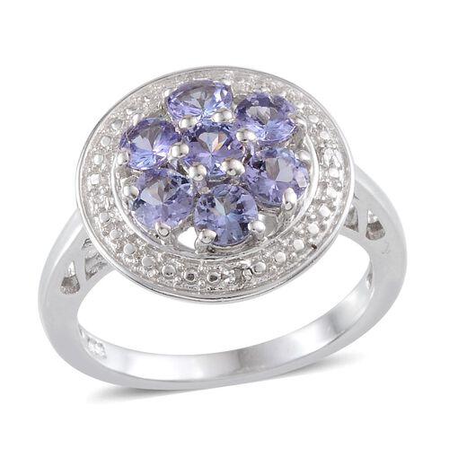 Tanzanite (Rnd), Diamond Ring in  Platinum Overlay Sterling Silver 1.270 Ct.