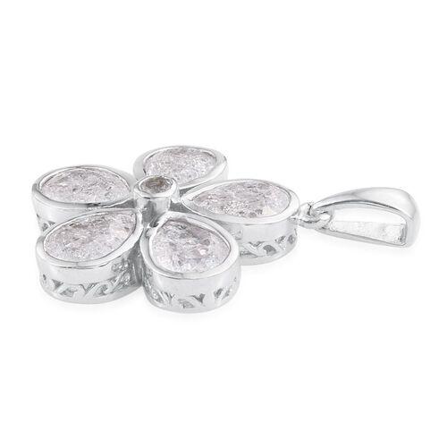 Diamond Crackled Quartz (Pear), White Topaz Floral Pendant in Platinum Overlay Sterling Silver 5.250 Ct.