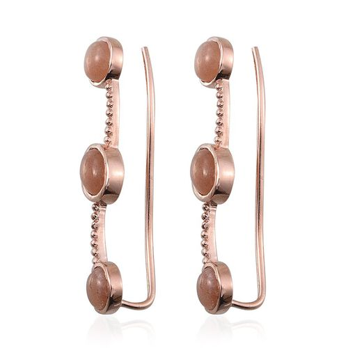 Morogoro Peach Sunstone (Ovl) Climber Earrings in Rose Gold Overlay Sterling Silver 5.500 Ct.