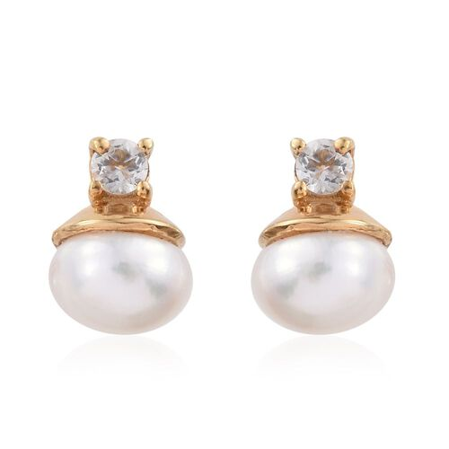 Pearl Solitaire Pendant and Stud Earrings Silver Set in Gold Overlay with White Topaz