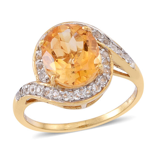 Citrine (Ovl 3.50 Ct), White Topaz Ring in 14K Gold Overlay Sterling Silver 4.000 Ct.
