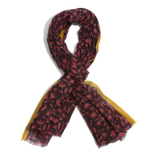 Designer inspired 100% Wool Black and Burgundy Colour Hand Block Printed Scarf (Size 185x75 Cm)