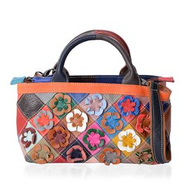 100% Genuine Leather Multi Colour Blocking with Flower Pattern Tote Bag with Adjustable and Removable Shoulder Strap (Size 24x15x11.5 Cm)