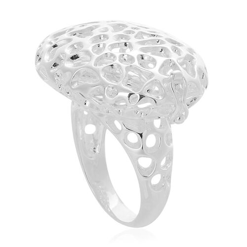 RACHEL GALLEY Rhodium Plated Sterling Silver Pebble Lattice Ring, Silver wt 10.24 Gms.