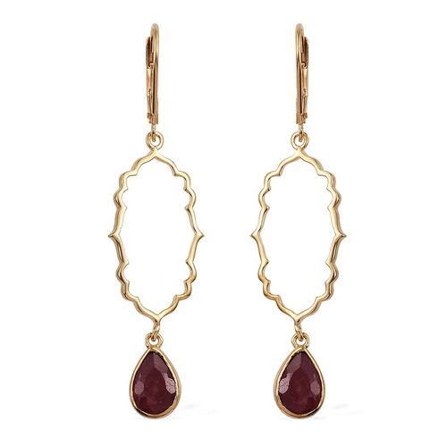 Kimberley Crimson Spice Collection Enhanced Ruby (Pear) Lever Back Earrings in 14K Gold Overlay Sterling Silver 2.500 Ct.