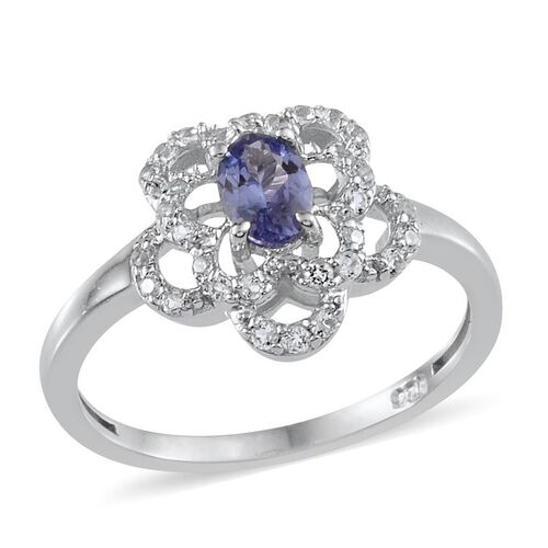 Tanzanite (Ovl 0.50 Ct), White Topaz Floral Ring in Platinum Overlay Sterling Silver 0.650 Ct.