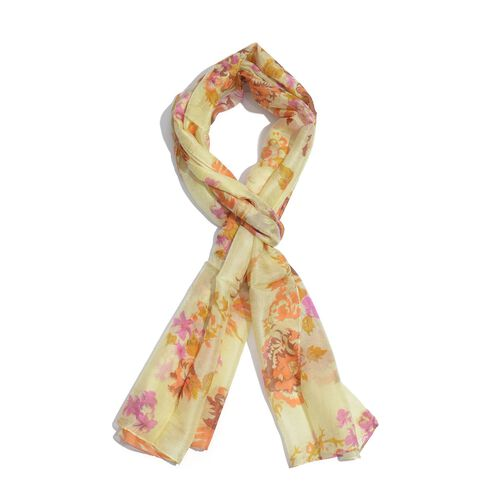 SILK MARK - Made in Kashmir 100% Silk Yellow, Orange and Multi Colour Leaves and Floral Pattern Scarf (Size 170x50 Cm)