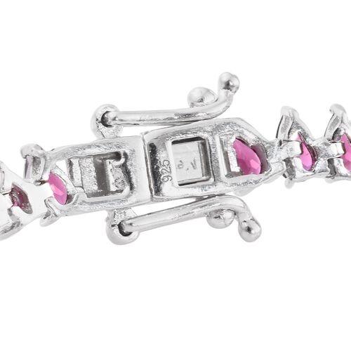 AAA Rhodolite Garnet (Pear) Bracelet (Size 7.5) in Platinum Overlay Sterling Silver 14.000 Ct. Silver wt. 10.00 Gms.