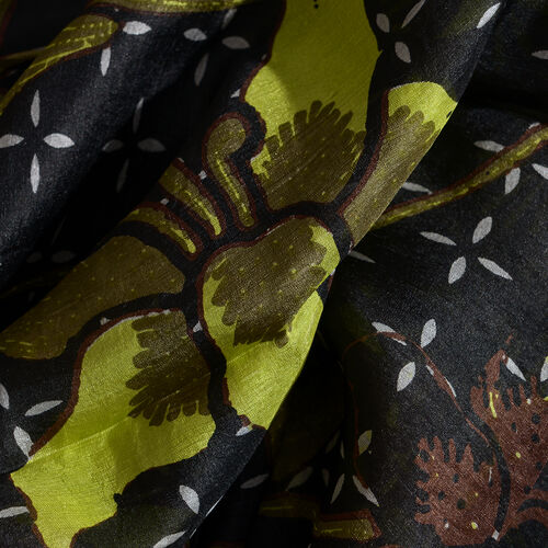 100% Mulberry Silk Green, Black and Multi Colour Floral and Leaves Pattern Scarf (Size 180x100 Cm)