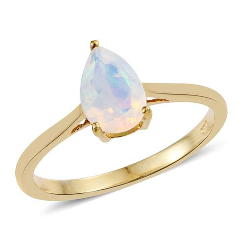 Ethiopian Welo Opal 0.75 Ct Silver Pear Solitaire Ring in Gold Overlay