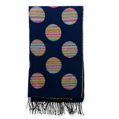 Multi Colour Large Polka Dot Pattern Blue Scarf (Size 180x65 Cm)