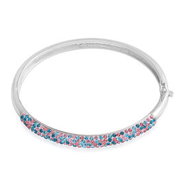 Vegas Close Out - AAA Blue and Pink Austrian Crystal Bangle (Size 7) in Silver Plated