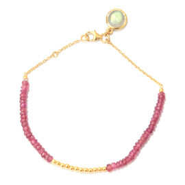 African Ruby (Rnd), Labradorite Bracelet (Size 7.5) with Circle Charm in Yellow Gold Overlay Sterling Silver 8.240 Ct.