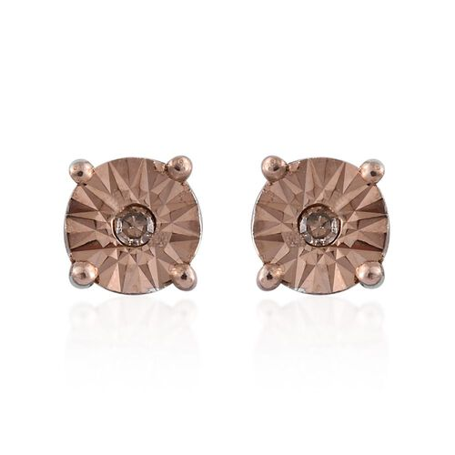 Natural Champagne Diamond (Rnd) Stud Earrings (with Push Back) in Platinum Overlay Sterling Silver