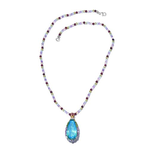 Exclusive Edition- Designer Inspired Peacock Quartz, Paraiba Apatite, Hebei Peridot, Citrine, Rhodolite Garnet, Amethyst and Multi Gem Stone Necklace (Size 20) in Sterling Silver 75.00 Ct.