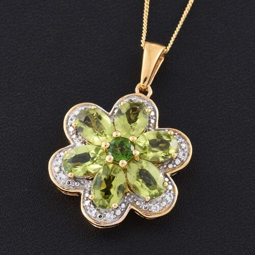 AAA Hebei Peridot (Ovl), Russian Diopside and Natural Cambodian Zircon Flower Pendant with Chain in 14K Gold Overlay Sterling Silver 5.250 Ct.