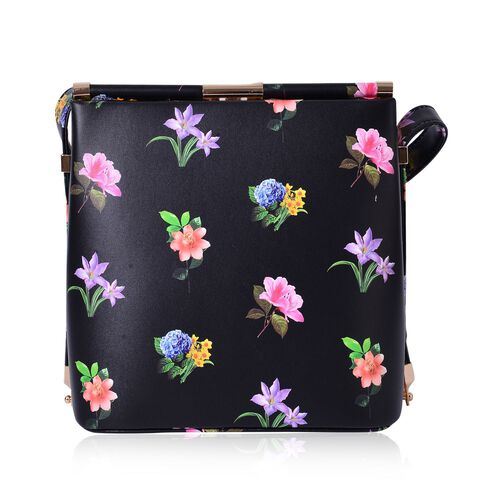 Black and Multi Colour Floral Pattern Clutch Bag with Shoulder Strap (Size 22x21.5x14 Cm)