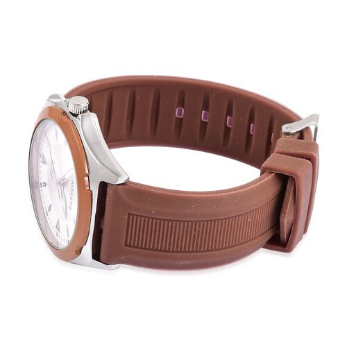 STRADA Japanese Movement Sunshine Pattern White Dial Water Resistant Watch in Silver Tone with Stainless Steel Back and Chocolate Colour Silicone Strap