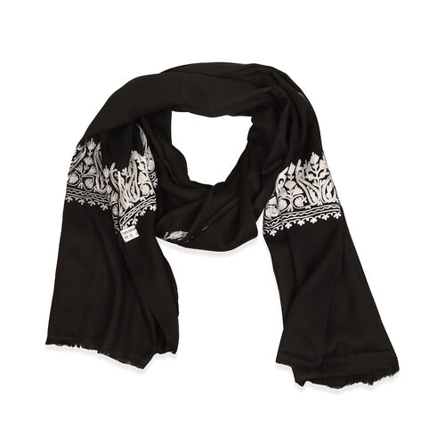 100% Merino Wool Black Colour Shawl with White Embroidery (Size 195x70 Cm)