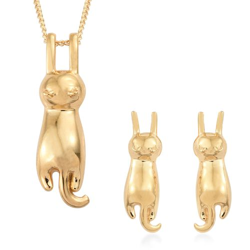 Cat Pendant with Chain and Stud Earrings Set in Gold Plated Silver