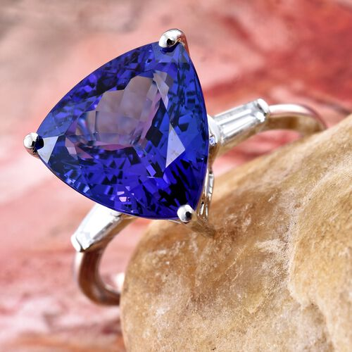 Signature Collectin - RHAPSODY 950 Platinum AAAA Tanzanite (Trl 6.35 Ct), Diamond (VS/E-F) Ring 6.600 Ct.