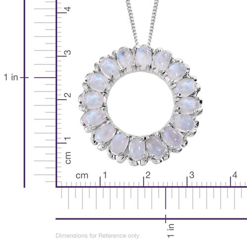 Sri Lankan Rainbow Moonstone (Ovl) Circle of Life Pendant with Chain in Platinum Overlay Sterling Silver 8.750 Ct. Silver wt. 7.16 Gms.