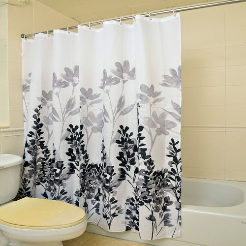 Grey and Black Colour Lavender Pattern Waterproof Shower Curtain with 12 Hooks (Size 180x180 Cm)