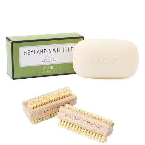 Heyland and Whittle Home Organic Soap Alpine 150g and Wooden Sisal Brush