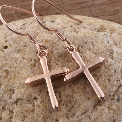 Rose Gold Overlay Sterling Silver Cross Hook Earrings