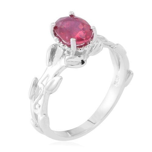 African Ruby (Ovl) Leaves Ring in Rhodium Plated Sterling Silver 1.600 Ct.