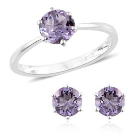 Rose De France Amethyst (Rnd) Solitaire Ring and Stud Earrings (with Push Back) in Sterling Silver 2.500 Ct.